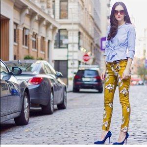 Zara Mustard White Navy Watercolor Flower Trousers